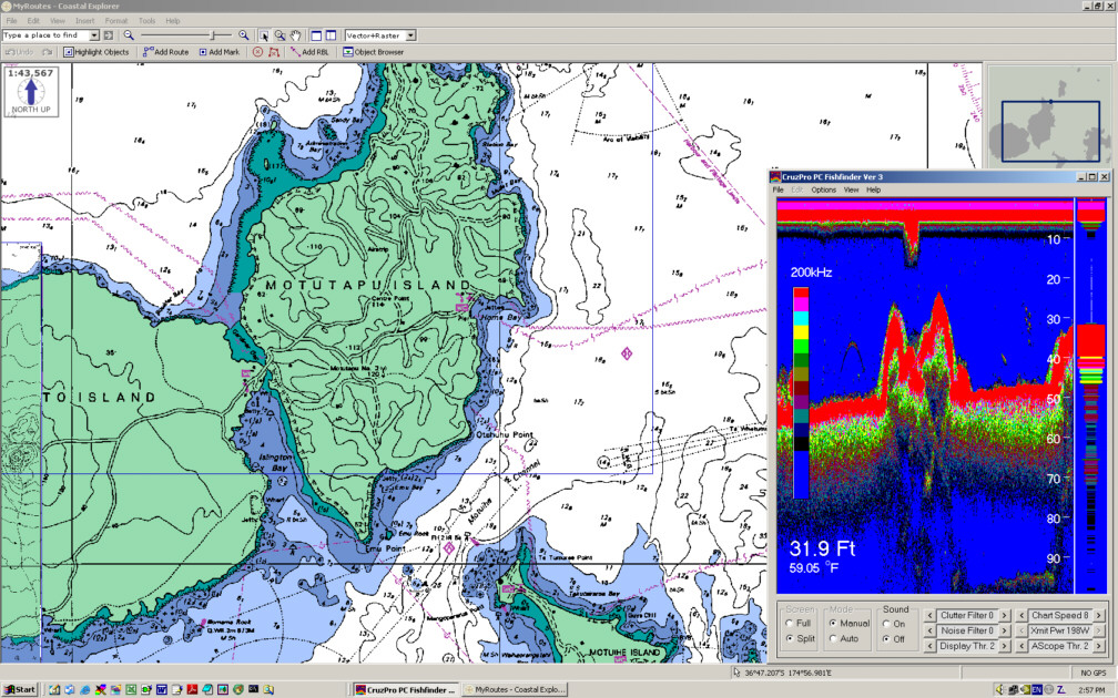 PcFF80 PC Fish Finder window on chart