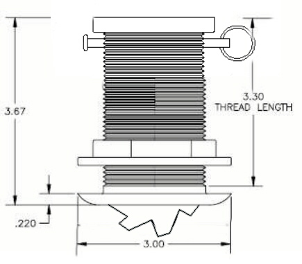 THST-3 bronze transducer dimensions
